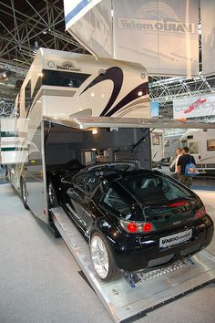 Vario Mobil RV with Smart Roadster inside ...... A car barn to go!