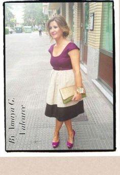 Vestido Malva/morado oscuro  vestido Boda cuero y dos tejidos más  Pedro del Hierro , Primavera-Verano 2012. En el armario de Vestidorindomable desde el 14-5-2012