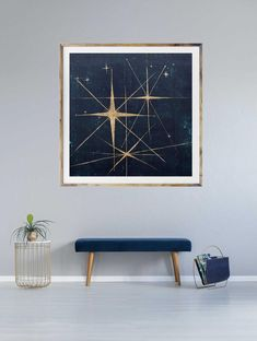 The mid century starburst ties the mid century modern feel to the spacey stargazer Retro Kunst, Retro Art, Mid Century Modern Art, Mid Century Art, Estilo Interior, Gold Leaf Art, Geometric Star, Retro Images, Dark Blue Background