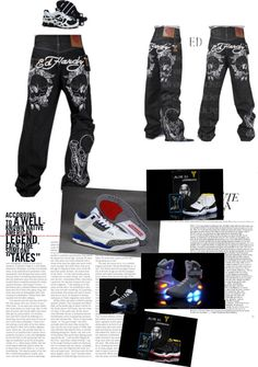 """""""Ed Hardy Jeans with Designer Nike Air Jordan Sport Shoes"""" by newairjordanforsale-shelly on Polyvore"""