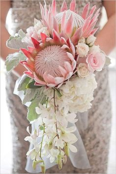 Gorgeous King Protea with Orchids, a stunning combination for a Bridal Bouquet