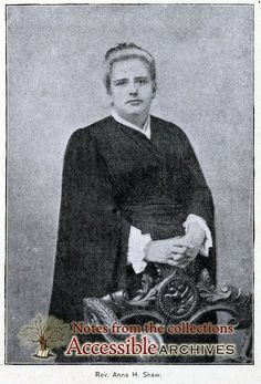 Miss Anna Howard Shaw, Vice-President of the National Council of Women, and preacher in the Methodist Protestant Church,  is one of the most eloquent and magnetic speakers on the American platform.    Though born in England she was brought up in Michigan in the pioneer days.
