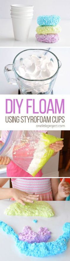 This DIY floam was soooo much fun! And it's made from styrofoam cups! It has a soft and squishy foam like texture and it's completely moldable. Really works Projects For Kids, Diy For Kids, Craft Projects, Crafts For Kids, Big Kids, Diy Floam, Diy Slime, Foam Slime, Edible Slime