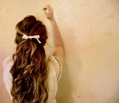 back, bow, brunette, curls, hair, pink
