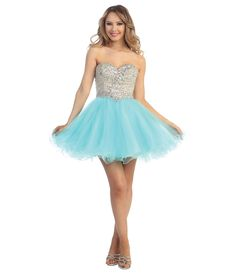 Aqua & Nude Tulle & Beaded Strapless Sweetheart Short Dress #uniquevintage #prom
