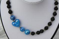 #Schmuck #Halsschmuck #Kette #Lava #Herz Hier aus meiner Ketten-Edition ein zauberhaftes Unikat in blau und schwarz. Ich habe blau marmorierte Perlen (insbesondere eine schöne...