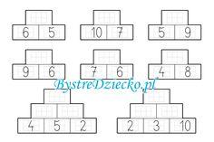 Dodawanie w zakresie 20 - piramida - karty pracy dla dzieci do druku