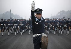 Indian Air Force soldiers rehearse for the Republic Day parade on a cold and foggy winter morning in New Delhi December 30, 2014. India will celebrate its annual Republic Day on January 26. REUTERS/Ahmad Masood
