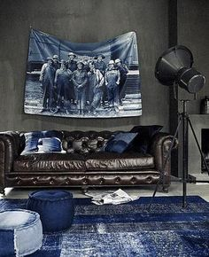 ♂ Masculine interior design living room with indigo blue touch