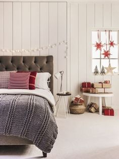 Christmas flooring ideas: A beautiful snowy shade of white instantly makes a room feel sumptuous and elegant – perfect for a relaxing bedroom setting. Grace in Ivory, £29.99 a sq metre. Available in 10 colours from the House Beautiful collection at Carpetright. Find more ideas at housebeautiful.co.uk