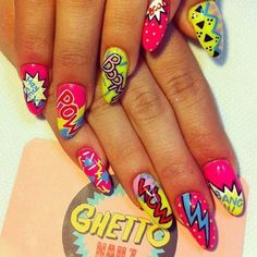 Image uploaded by Find images and videos about pretty, nails and nail art on We Heart It - the app to get lost in what you love. Ongles Pop Art, Pop Art Nails, Funky Nails, Dope Nails, My Nails, Neon Nails, Comic Nail Art, Hippie Nails, Ghetto Nails