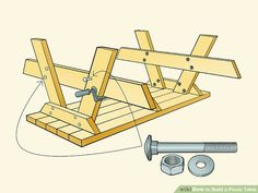 How to Build a Picnic Table. Whether you plan on sitting in the shade or having a picnic, having a sturdy table helps. Building a good table is relatively. Woodworking Techniques, Woodworking Plans, Build A Picnic Table, Picnic Tables, Indoor Firewood Rack, Ideas Terraza, Diy Outdoor Furniture, Garden Furniture, Furniture Ideas
