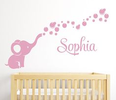 Elephant Bubbles Name Wall Decal - Girl Nursery Room Decor By LovelyDecals - On Sale!! Check it out!