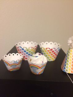 Rainbow Party Favors, Rainbow Parties, Cupcake Wrappers, Mini Cupcakes, Mugs, Unique Jewelry, Tableware, Handmade Gifts, Etsy