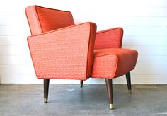 Mid-Century Coral Arm Chair from Charlie's Nest @Etsy