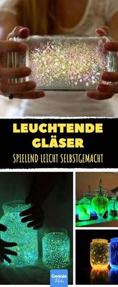 These glowing glasses are easy to make yourself. - These glowing glasses are easy to make yourself. Informations About Diese leuchtenden Gläser sind s - Fun Crafts For Kids, Diy For Kids, Diy And Crafts, Diy Galaxy Jar, Diy Cans, Ideas Hogar, Diy Bottle, Jar Lights, Decoration Table