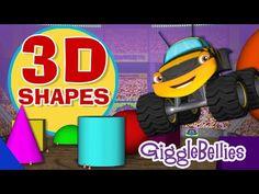 Monster Trucks Learn 3D Shapes | GiggleBellies - YouTube 3d Shapes Kindergarten, Preschool Math Games, Kindergarten Music, Math Activities, Math Songs, Kids Songs, Learning Channel, Fun Learning, Rhymes Video