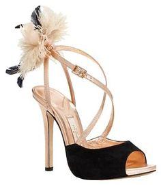 f835bc0bb Kate Spade Black   Rose Gold New York Carlton Heels Peep Tote Pump W  Feather Applique   Formal Shoes Size US 7 Regular (M
