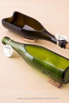 Creative Ways to Repurpose Your Empty Wine Bottles Glas fusing kiln, Susanne Borchers, Glas fusing kiln wine bottle crafts succulent Source . Wine Bottle Wall, Empty Wine Bottles, Wine Bottle Candles, Recycled Wine Bottles, Melted Wine Bottles, Beer Bottle, Bottle Opener, Cutting Glass Bottles, Glass Bottle Crafts