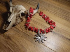 Gypsy Cowgirl Chic Red Coral Tear Drop Vintage by gypsycowgirlchic save 25% at checkout with code 25off