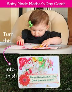 Turn Baby Finger painting fun into a pretty handmade card | spotofteadesigns.com