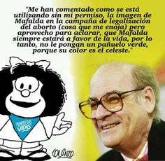 Quino desmintió la imagen de Mafalda con el pañuelo celeste. Live Action, Funko Pop, Catholic, Religion, Language, Funny Things, Travel, Anti Feminist, Truths