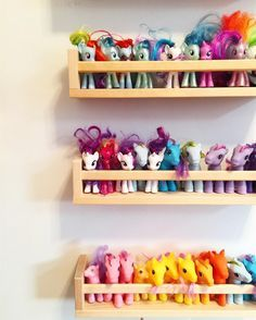 My Little Pony organization!  Simple and cheap toy organization for your toy room using $3.99 ikea spice racks. Who doesn't love a good Ikea hack!?