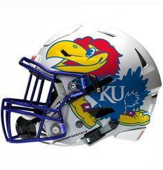 Kansas Jayhawks Ku Football, Kansas Jayhawks Football, Football Helmet Design, College Football Helmets, Custom Football, Ku Sports, Sports Logos, Kentucky College Basketball, Basketball Players