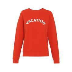 Vacation Logo Sweatshirt (130 CAD) ❤ liked on Polyvore featuring tops, hoodies, sweatshirts, long sleeve tops, logo sweatshirts, logo top, long sleeve sweatshirt and red top
