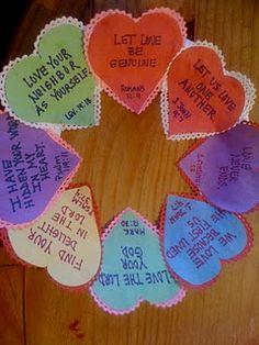 "Conversation Hearts Wreath- with ""love"" Bible verses"