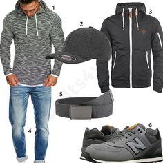Grauer Street-Style mit Hoodie, Sneaker und Cap (m0867) #hoodie #jeans #jacke #newbalance #sneaker #outfit #style #herrenmode #männermode #fashion #menswear #herren #männer #mode #menstyle #mensfashion #menswear #inspiration #cloth #ootd #herrenoutfit #männeroutfit