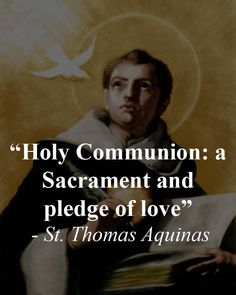 "S. Thomas Aquinas rightly calls the Holy Communion "" a Sacrament and  pledge of love ;"" and S. Bernard the ""love of loves ;"" and S. Mary Magdalene of Pazzi styled Holy Thursday the day of its institution ""The day of love."" #TraditionalCatholics #StThomasAquinas #HolyCommunion #Love by traditionalcatholics"