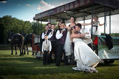Photography: Creative Photo  Venue: Cedar Creek Resort  Horse and Trolley: J Carriage Services