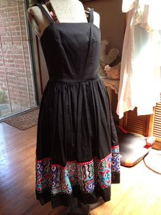 Beautiful Vintage Black Summer Sundress with Straps by Besshastyle, Sold