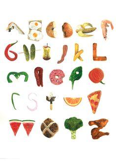 Food Alphabet via Lucy Wragg Illustration Food Alphabet, Alphabet Design, Alphabet Art, Food Typography, Typography Alphabet, Grafik Design, Art Plastique, Lettering Design, Graphic Design Illustration