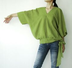 NO.13 Lime Green Cotton V-Neck Top by JoozieCotton on Etsy
