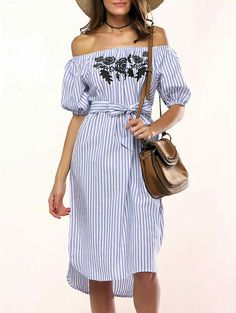 3578d7f609c Buy AZULINA Casual Blue Striped t shirt summer Dress Women Off the Shoulder  Floral Embroidery Sexy Beach Midi Dress Sundress 2017     Check Link