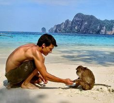 Monkey Beach in Thailand is filled with monkeys you can play with