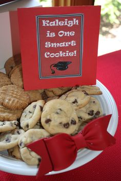 Rather than a graduation cake, a dessert table with a You Are a Smart Cookie theme with a variety of cookies.