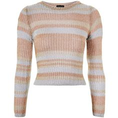 TopShop Metallic Yarn Striped Jumper ($68) ❤ liked on Polyvore featuring tops, sweaters, topshop, multi, striped top, semi sheer top, double layer top, jumpers sweaters and striped jumper