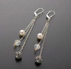 Sylvia White - Galadryl Schmuckdesign auf KUSELVER, Verspielte Sterling Silber Ohrringe mit Perlen und Kristallen