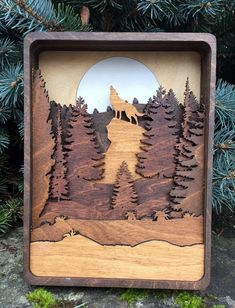 Book style box wood burned with a an eagle mountain scene