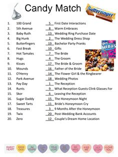 Candy Match bridal party game or bachelorette party game idea! Bridal Games, Wedding Games, Wedding Ideas, Wedding Stuff, Couples Wedding Shower Games, Wedding Planning, Wedding Candy, Party Planning, Wedding Hair