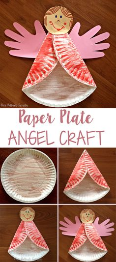 Christmas Kids Craft: Paper Plate Angel - Our Potluck Family This fun Christmas Kids Craft Paper Plate Angel is made by folding a paper plate twice, adding handprint wings, and gluing on an angel face. Paperplate Christmas Crafts, Christmas Angel Crafts, Christmas Bible, Preschool Christmas, Kids Christmas, Holiday Crafts, Christmas Games, Christmas Poinsettia, July Crafts