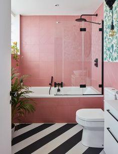 Pink Bathroom Tiles, Pink Tiles, Master Bathroom, Bathroom Wall, Bathroom Ideas, Bathroom Organization, Shower Tiles, Bathroom Inspo, Shower Tile Paint