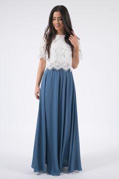 Kelly Slate Blue Full Maxi Skirt – Skylar Belle Maxi Skirt Outfits, Modest Outfits, Modest Fashion, Dress Skirt, Casual Dresses, Fashion Dresses, Fashion Clothes, Skirt Pleated, Maxi Skirt Crop Top