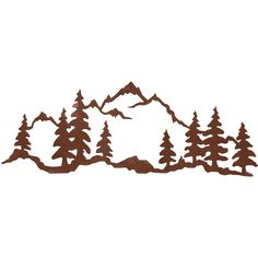 The Mountain Scene x Steel Wall Art by Ironwood Industries features a wonderful image precision cut from rolled steel. Add a sense of rustic flair to any wall in your home with this fabulous piece of wall art. Metal Tree Wall Art, Metal Art, Wald Tattoo, Silhouettes, Dibujos Tattoo, Mountain Tattoo, Mountain Outline, Mountain Art, Wood Burning Patterns
