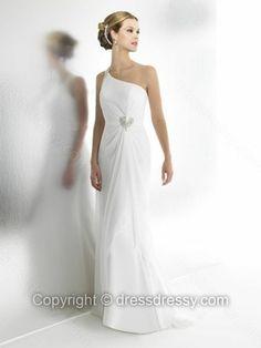 Sheath/Column One Shoulder Chiffon Floor-length Beading White Wedding Dresses