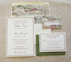 vintage map wedding invitations - Google Search