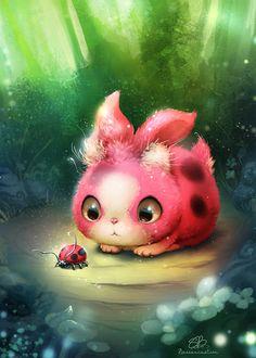 ladybugbun NET by bassanimation on DeviantArt Cute Fantasy Creatures, Mythical Creatures Art, Cute Creatures, Magical Creatures, Cute Monsters Drawings, Cute Animal Drawings, Cute Drawings, Creature Concept Art, Creepy Cute